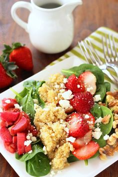 Strawberry Rhubarb Spinach Salad|Craving Something Healthy #rhubarb #spinachsalad  #springsalads  #salad