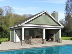 Pool house plans and cabana plans are the perfect compliment to your backyard pool. Enjoy a convenient changing room or restroom beside the pool. Pool Deck Plans, Pool House Plans, Gazebo Plans, Patio Plans, Backyard Plan, House Plans And More, Backyard Ideas, Gazebo On Deck, Outdoor Pergola