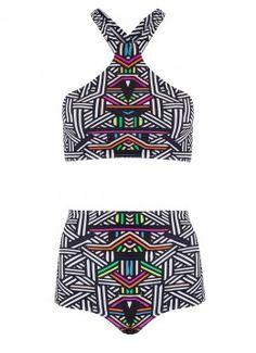Biquíni Top Mia Calcinha Hot Pants Trecê Color I15T38C18