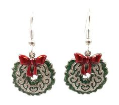 Christmas Wreath Earrings in Silver and Green