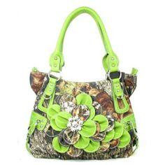 Rakuten.com:Handbags Bling and More|Western Green Camouflage Flower Rhinestone Purse