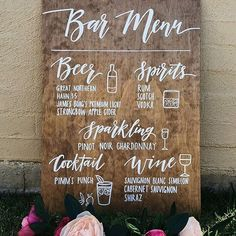 Wedding Bar Menu Sign – Rustic Wooden Wedding Alcohol Selection Sign Wedding Signs, Rustic and Chalkboards for Businesses, Events and Home. Custom Handmade Signage for all of your events! Rustic Wedding Signs, Wedding Signage, Wedding Reception Decorations, Wedding Ceremony, Wedding Bar Menu, Wedding Ideas, Wedding Drink Signs, Chalkboard Wedding Signs, Wedding Centerpieces