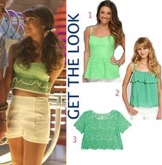 Teen Beach Movie: McKenzie/Mack's (Maia Mitchell) vintage green ruffle-bottom crop top #getthelook #teenbeachmovie #tbm