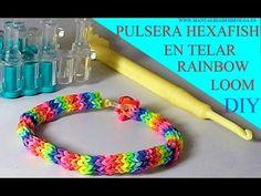 COMO HACER PULSERA ELÁSTICA MODELO HEXAFISH (6 PINS) EN TELAR RAINBOW LOOM TUTORIAL ESPAÑOL DIY - YouTube