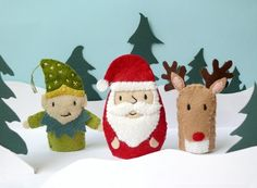 Items similar to Santa and Friends - 3 Wool Felt Finger Puppets on Etsy
