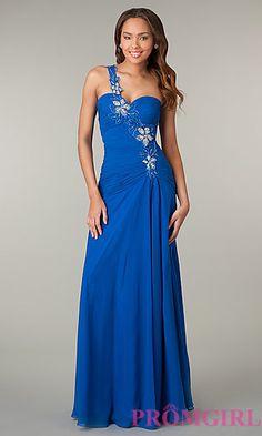 One Shoulder Floor Length Dress at PromGirl.com