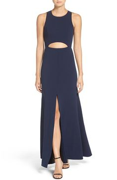 Free shipping and returns on BCBGMAXAZRIA 'Veranna' Lace & Crepe Gown at Nordstrom.com. Glimpses of midriff and leg modernize a crisp crepe gown styled with semi-sheer lace down the back.