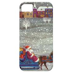 Vintage #Christmas, Santa Claus Horse Open Sleigh iPhone 5 Cover #zazzle #holidays