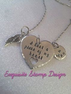 A Piece Of My Heart   Memorial Necklace  by ExquisiteStampDesign