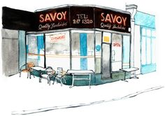 Eleanor Crow's East End Cafes — Savoy, Norton Folgate London Cafe, East London, Watercolor Journal, Sketch Markers, Shop Fronts, Urban Sketchers, Love Illustration, Town And Country, Bar
