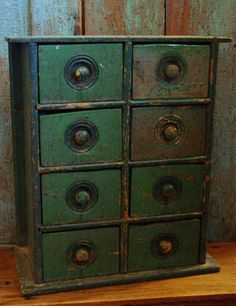 Antique Primitive Old Painted Wood Spice Chest.