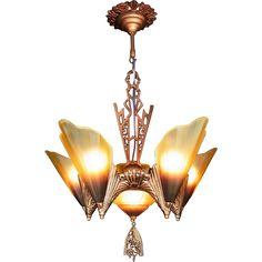 American Art Deco 'Soleure' Brown Tip Honey Glass 6 Light 5 Slip Shade from decoechoantiques on Ruby Lane