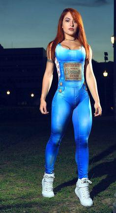 3cc5763b10a3 Brazilian Workout Jumpsuit - WE CAN DO IT! FAKE DENIM JUMPSUIT Fitted  Jumpsuit