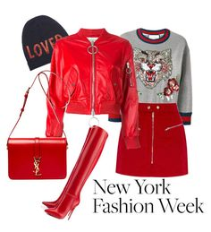 """""""Red rules ❤️💋💄NYFW#1"""" by san-yay ❤ liked on Polyvore featuring Gucci, Christian Louboutin, Off-White, Yves Saint Laurent, NYFW, red and Boots"""