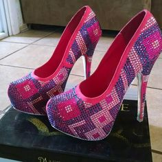🎈 Closet Closing 🎈 Beautiful pair of heels pink with purple rhinestones all over , Still in box !! * PET FREE HOME *SMOKE FREE HOME Shoes Heels