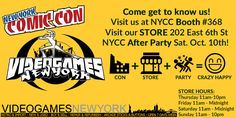 Only 9 days to wait! As usual we will LIVE TWEET our behind the scenes this year over on our twitter account. As a reminder setup for dealers starts on Tuesday and so will the tweeting. (https://twitter.com/VideoGamesNYC)  As usual we will have a few booths at the con this year. You can find us at booth #368. We will have mixed staff for the 4 days of the event and a few show specials.   Also be sure to visit us at the store, just a short ride away located in the East Village