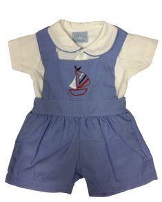 Baby Boys Baby Blue Dungaree and Shirt Outfit