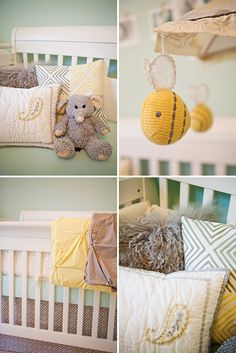 Mint Green and Yellow Nursery. I like the colors but love the textures and animals. Super cute for a surprise gender