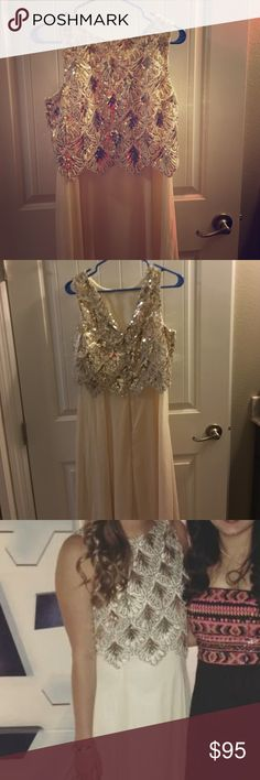GB junior evening gown. Only worn once!! Ivory/ gold/ silver evening/ prom dress. Only worn once Gianni Bini Dresses Prom