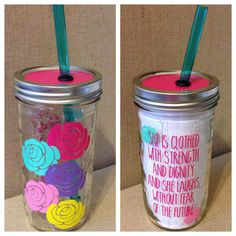 Personalized Mason Jar Tumbler // Flowers and Verse by HouseOfJars, $19.50
