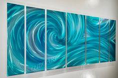 "66"" Ocean Dance turquoise METAL art painting new modern original teal ocean wave long wall decor"