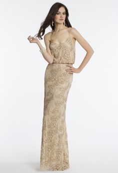 Camille La Vie Beaded Lace Blouson Style Prom Dress