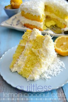 This Guiltless Lemon Coconut Cake is the perfect refreshing treat! #cake #dessert #lemon