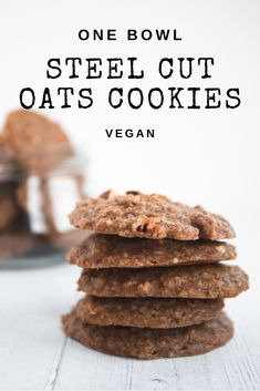 These steel cut oat cookies are the perfect healthy breakfast on the go If you re a fan of baked oatmeal you re bound to love these vegancookies breakfastcookies vegan Healthy Breakfast On The Go, Make Ahead Breakfast, Healthy Breakfast Recipes, Breakfast Party, Breakfast Cookies, Breakfast Ideas, Steel Cut Oat Cookies, Oats Recipes, Vegan Recipes