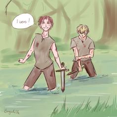 Idk, it just happened  young Allistor and Arthur because why the heck not :/  #art #instaart #hetalia #anime #boy #fight #bleeding #river #aphscotland #aphengland #arthurkirkland #allistorkirkland #sword #blade #forest #fanart #quickpainting #digital #quickdoodle