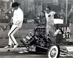 Don Garlits this is the front of his car after it exploded at lyons 1970