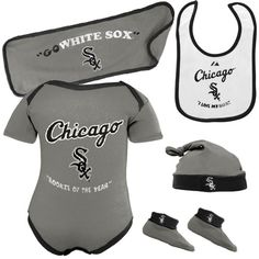 Chicago White Sox Newborn Gray Rookie Of The Year 5-Piece Creeper Set