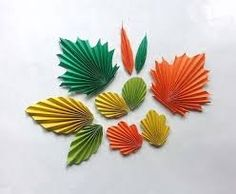 Make a variety of accordion folded Autumn leaves.