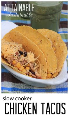This chicken taco recipe takes less than ten minutes to put together in a slow cooker. Start it before work and dinner will be ready when you get home!