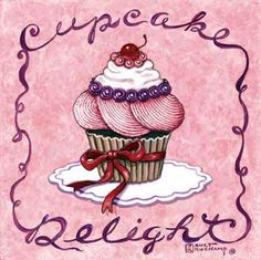 Cupcake Delight, one of a new series of cupcake posters by artist Janet Kruskamp. This bright pink poster features a fancy frosted cupcake sitting in the center on a white doily. A red ribbon is tied around the fluted cupcake paper on the bottom half of the cupcake. The top is heavily frosted beginning with huge striated pink swirls, a ring of blue berries separate the whiipped cream from the pink swirls. The delightful confection is topped off by a bright red cherry sitting on a ring of ...