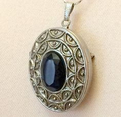 Avon Perfume Locket Necklace Brooch Silver Tone Black Glass Inset
