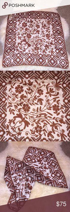 "Guy Laroche Paris scarf Guy Laroche scarf white and brown color measures 22""SQ guy Laroche Paris Accessories Scarves & Wraps"