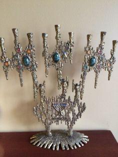 Wainberg Brutalist Vintage Judaica Menorah 1950 Israel 12 Tribes MCM Vintage