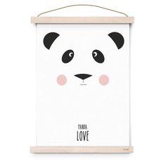 Poster affiche panda love blanc par Eef Lillemor à retrouver dans la boutique La Rose Pourpre - papeterie - Panda love poster - Online Shop -Paiement sécurisé et retour facile !