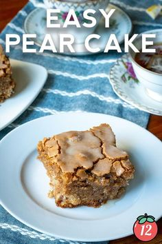 """There is something so comforting about a homemade cake filled with spices and fruit. This easy pear cake has wonderful spices like cardamom and cinnamon for a gentle flavor that reminds me of childhood or the holidays. This one is a treat to make and there's a reason it's called an """"easy"""" pear cake. But, by far the easiest part of this recipe is in the eating since this flavorful cake will be gobbled up in no time whenever you make it. 12 Tomatoes Recipes, Pear Cake, Homemade Cakes, Recipe Of The Day, Baked Goods, Baking Soda, Cinnamon, Spices, Childhood"""