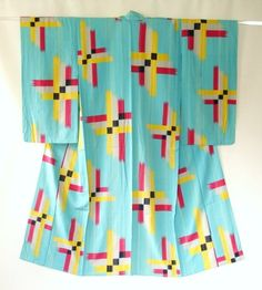 """Haruko Watanabe Kimono """"This is not meisen but silk crepe summer kimono.  It has beautiful blue ground and eye-catching cross pattern which is stencil-dyed."""""""
