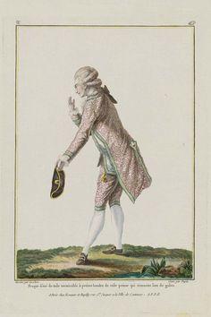 1779, Gallerie des Modes et Costumes Français Fraque d'eté de toile vermicelée à petites bandes de toile peinte qui tiennent lieu de galon.