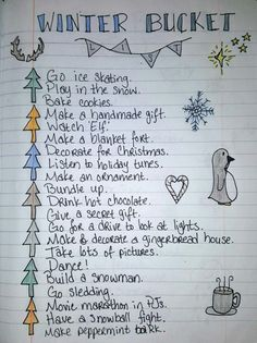 Winter bucket list I made based off a fall bucket list pin I saw on here! Winter bucket list I made based off a fall bucket list pin I saw on here! Bucket List With Boyfriend, Gifts For Your Boyfriend, Bullet Journal Bucket List, Bullet Journals, Autumn Bullet Journal, Winter Fun, Winter Christmas, Christmas Date, Winter Season