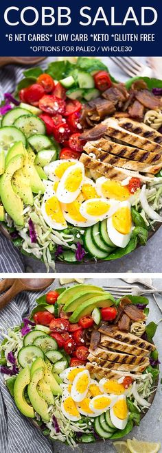 This Cobb Salad recipes has all the classic flavors of the popular American salad and is the perfect low carb, keto lunch, dinner or side for spring and summer potlucks, barbecues, parties and cookouts. Made with chopped lettuce greens, tomatoes, crispy bacon, cucumber, avocado and a tangy dressing. Easy to customize with Paleo & Whole30 ingredients or with your favorite red wine or blue cheese dressing.