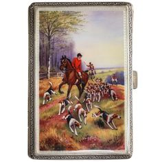 English Sterling Cigarette Case with Enameled Hunting Scene