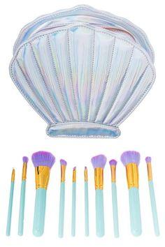 10 pc Seashell Makeup Brush Kit