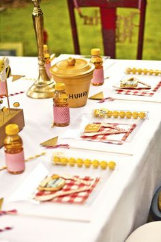 table setting + DIY pot >> 12 Photos From A Winnie the Pooh First Birthday in the 100 Aker Wood