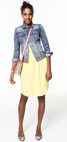 Teacher = a love for pairing a jean jacket with everything!       Silk Elysian Dress, madewell.com