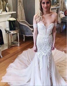 Mermaid Wedding Dresses,Off-the-Shoulder Wedding Dress,Chapel Train Wedding Dress