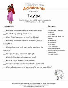 Torah Portion Quiz: Tazria (Leviticus) | Torah lessons for Kids | Parashat Tazria | FREE download. Bible Study For Kids, Bible Lessons For Kids, Bible Questions For Kids, Sabbath Lesson, Devotions For Kids, Learn Hebrew Online, Bible Quiz, Bible School Crafts, Bible Activities