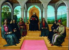 Pinturicchio (Bernardino di Betto Betti detto) - Disputa di Sant'Agostino - 1505 - Accademia Carrara di Bergamo Pinacoteca